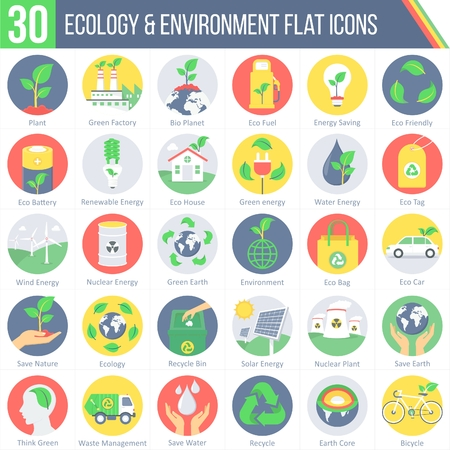 This pack contains 30 Ecology and Environment Flat Colorful Round Icons for mobile,desktop and presentations. Ilustração