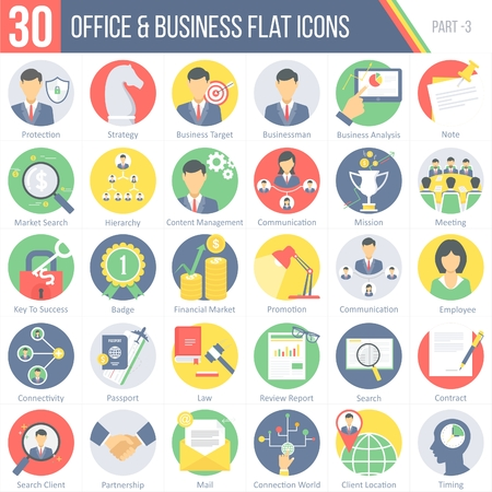 report icon: This pack contains 30 Office and Business Flat Colorful Round Icons for mobile,desktop and presentations.