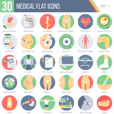 This pack contains 30 Medical Flat Colorful Round Icons for mobile,desktop and presentations. Ilustrace