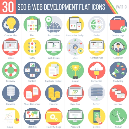 finder: This pack contains 30 SEO and WEB DEVELOPMENT Flat Colorful Round Icons for mobile,desktop and presentations.