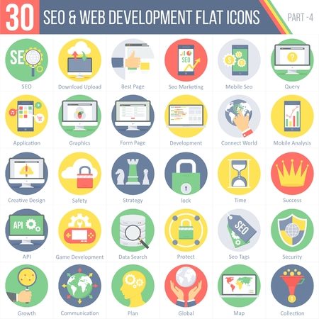 web icons: This pack contains 30 SEO and WEB DEVELOPMENT Flat Colorful Round Icons for mobile,desktop and presentations.