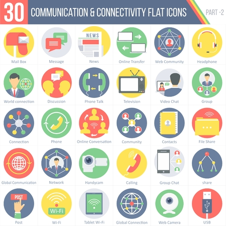 This pack contains 30 Communication and Connectivity Flat Colorful Round Icons for mobile,desktop and presentations. Illustration