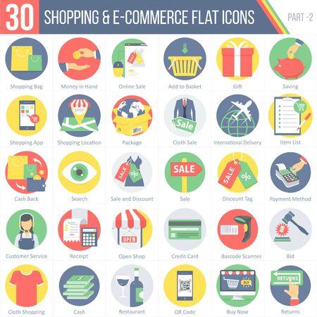 Dit pakket bevat 30 Shopping en E-commerce Flat Kleurrijke Ronde Pictogrammen voor mobiele, desktop- en presentaties.