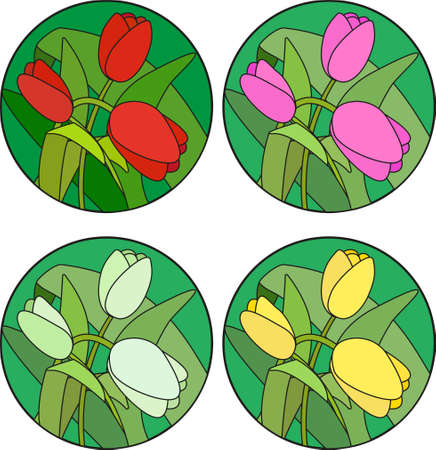 Illustration in stained glass style with tulips Ilustração