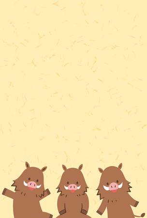 Cute cartoon wild boar. Ector illustration.  イラスト・ベクター素材