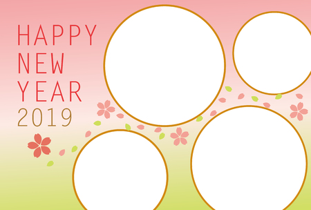 New years card 2019. Cute Cherry Blossoms photo frame. Vector illustration. Illustration
