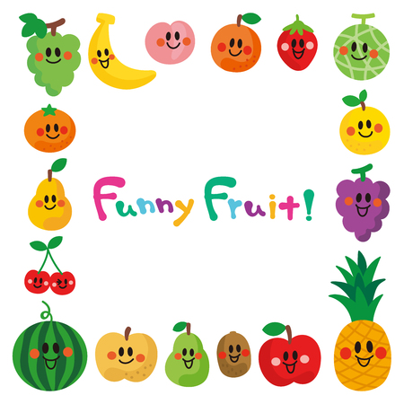 The characters of smiling fruits.frame. Foto de archivo - 113997899