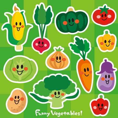 The characters of smiling vegetables. Ilustrace