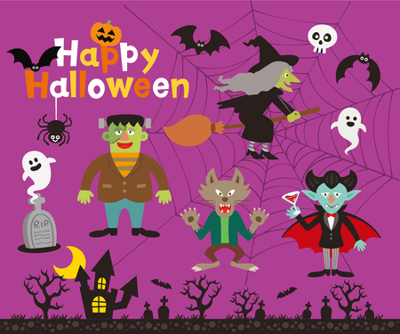 Set of halloween sign, symbol, objects, items and funny monsters.