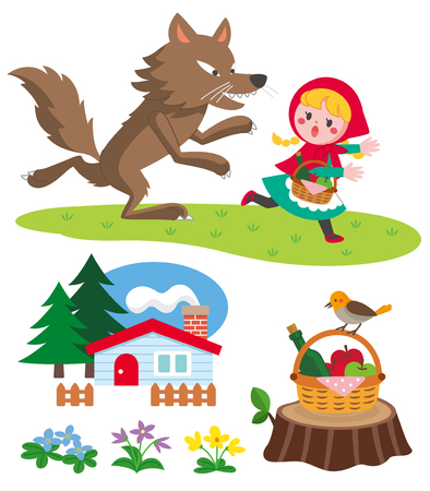 Little red riding hood vector set Vettoriali