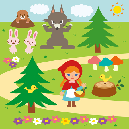 Little red riding hood vector set Illustration