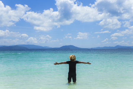 phangnga: A man with a heart in the beautiful Andaman Sea. Stock Photo