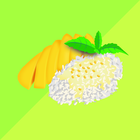 Mango and sticky rice, Background green Thai dessert vector