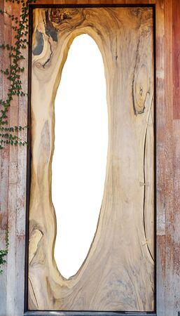 large doors: Large wood doors white isolated inside Stock Photo