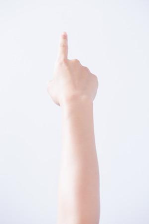 female hand touching screen Stok Fotoğraf