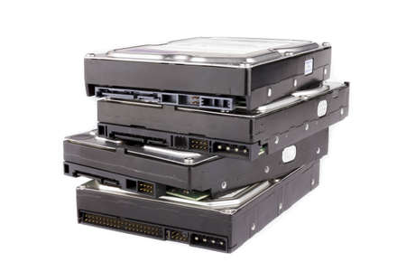 Stack of hard drives photo