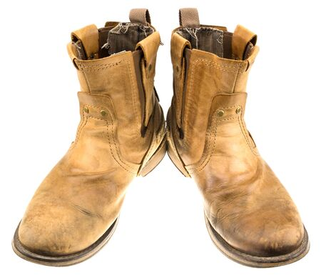 muddy clothes: Isolated Patina Engineer Leather Boot on White Background