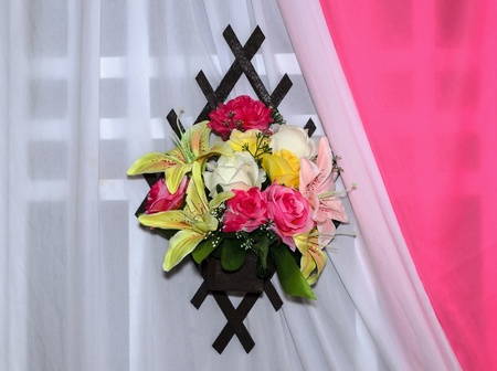 flower with white and pink wall