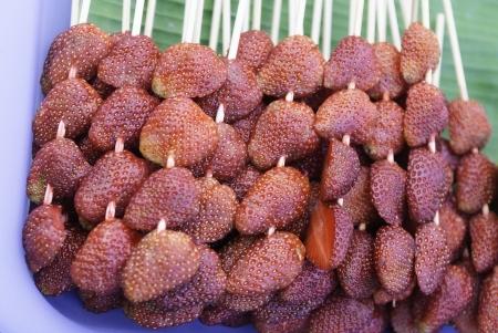 Strawberry on a banana leaf