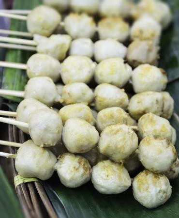 Meatballs bake on banana leaf