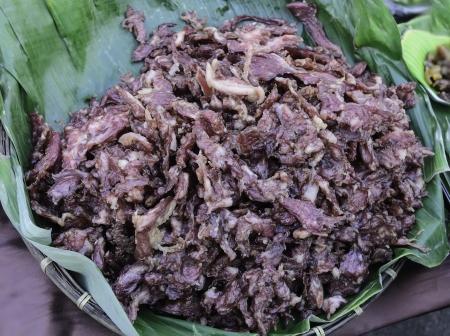Dried pork on banana leaves