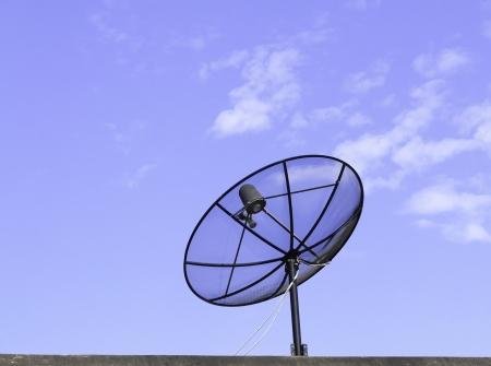 Satellite dish and blue sky photo