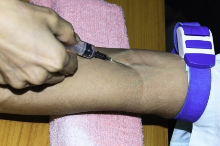 Blood samples for examination at the hospital