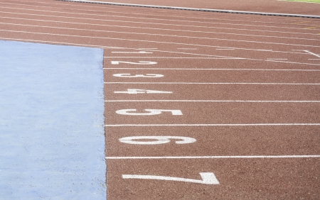 Running race track in the sport stadium Stock Photo