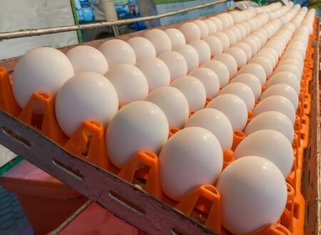 Duck eggs on the shelves in stores Stock Photo