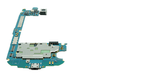 Circuit board of cellphone isolated on white background.