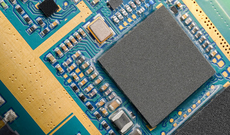 Close up micro chip on circuit board of cellphone.