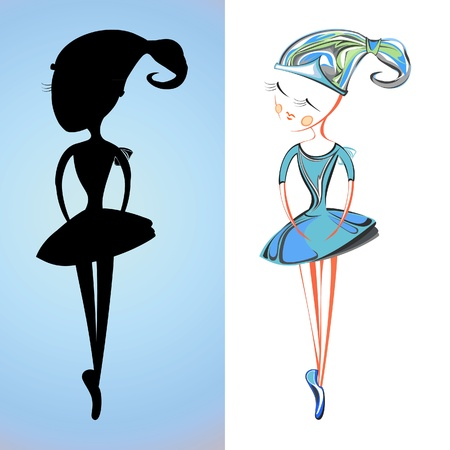 A cartoon delicate ballerina in blue colors Vector
