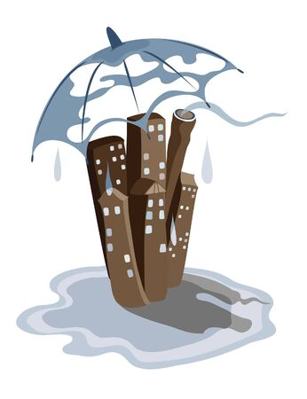 Stylized city landscape with rain and umbrella, standing in a pool Vector