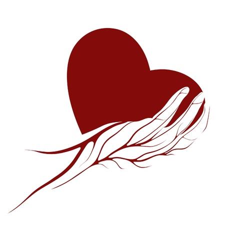 manos logo: Una forma de coraz�n con una mano con el logotipo de venas
