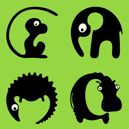 monkey silhouette: Inscribing in a circle wild animals round signs or logos. A crocodile, a hippo, a monkey, an elephant