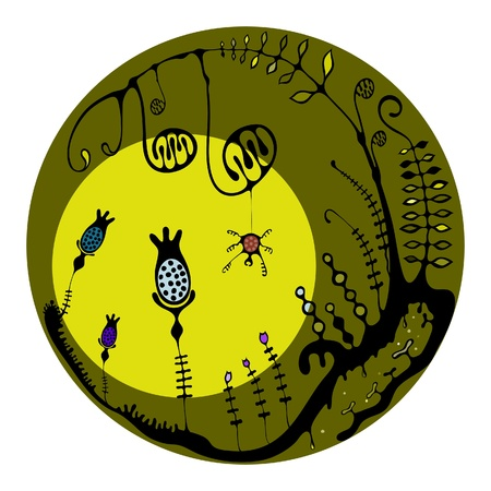 Imaginary jungle or magical forest with a sun and a spider in green.Good for glass items decoration. Illustration