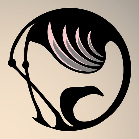 A round stylized symbol of flamingo in black with pink wing