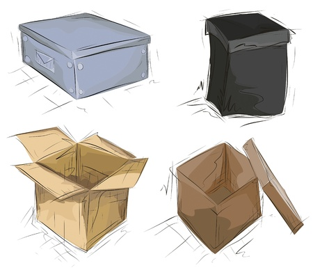 Hand drawn boxes.  Easy to manage - boxes, colors and sketches are on different layers.