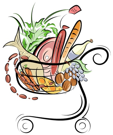 canastas con frutas: Un carro con ilustración de alimentos