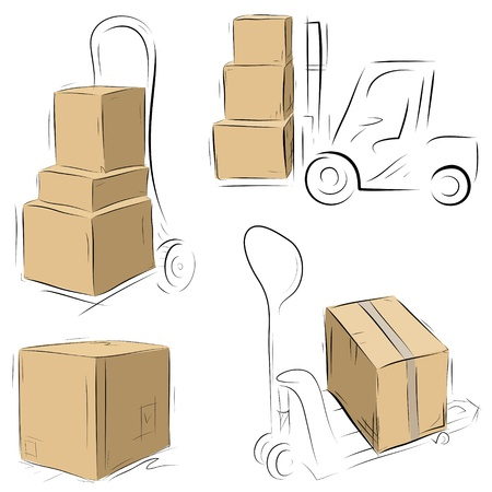 Warehouse Carts with cardboard boxes. Easy to manage - items, colors and sketches are on different layers. Vector