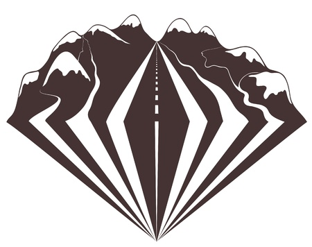 Travelling through mountains by car impressions.  Vector