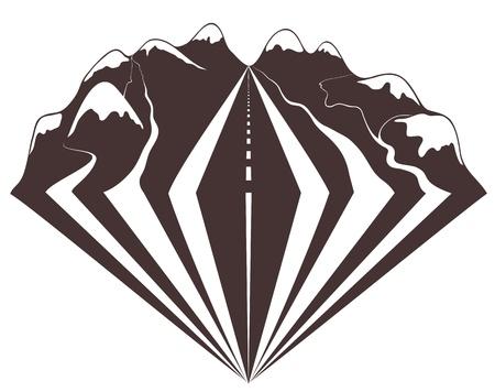 logo voyage: Voyager à travers les montagnes par des impressions de voitures.