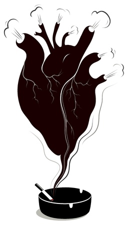 Harmful effect of smoking to the heart Vector