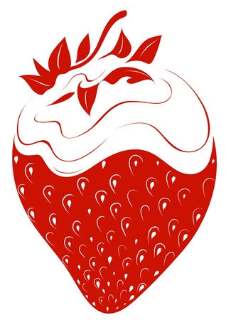 cream colored: Strawberry with whipped cream simple illustration
