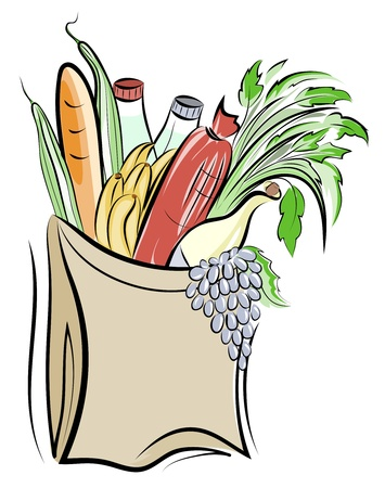 Paper bag with foods illustration. Layered. Vector