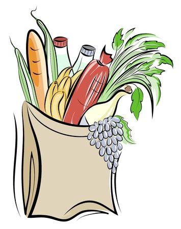Papier Tasche mit Lebensmitteln Abbildung. Geschichtet. Standard-Bild - 10676923