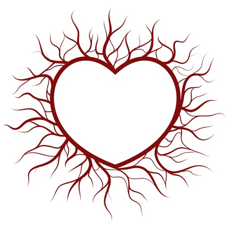 Heart in veins nimbus. Vector EPS8. Heart and veins are on different layers, easy to change colors. Illustration