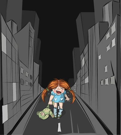 Lost girl in the big city. Vector illustration. EPS8. Layered. Easy to isolate a girl.