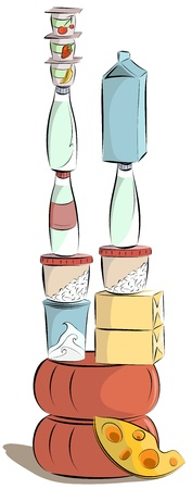 cottage cheese: Milk products pyramid. Vector illustration EPS8. Layered by the products.