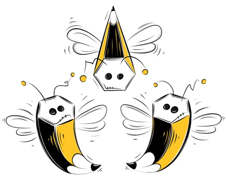 fly cartoon: Pencil bees. Layered EPS8 vector illustration.